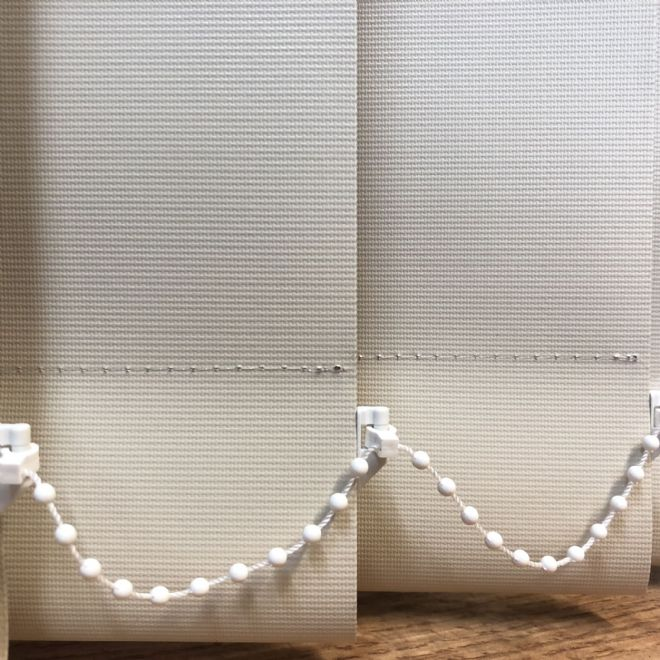 "Replacement louvres /slats for vertical blinds 3.5"" (89mm) PVC beige  Patterned BLACKOUT - Just Blinds"